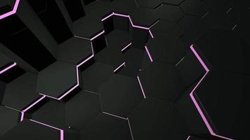 fundo de grade hexagonal preto e roxo escuro de movimento, fundo abstrato