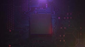 fundo de animação cyberpunk com chip de computador e luzes de néon