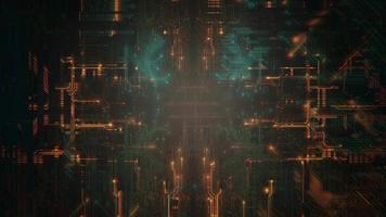 fundo de animação cyberpunk com chip de computador, linhas e grade