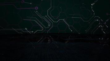 Fondo de animación cyberpunk con chip de computadora, líneas y cuadrícula