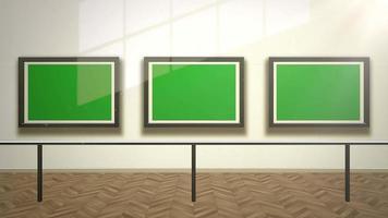câmera de movimento na galeria de arte com foto e moldura moderna com tela verde de modelo