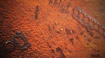 filmbakgrund med former i planet mars och rörelsekamera