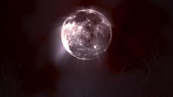 mystieke animatie halloween achtergrond met donkere maan en wolken