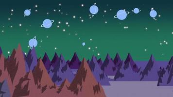 Karikaturanimationshintergrund mit Planeten und Bergen im Raum, abstrakter Hintergrund
