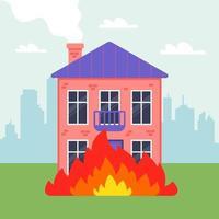 una casa particular de dos pisos está en llamas. fuego en la ciudad. ilustración vectorial plana. vector
