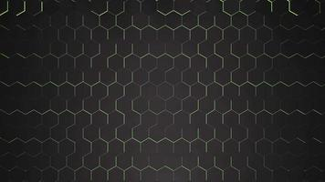 fundo de grade hexadecimal preto escuro de movimento, fundo abstrato