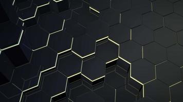 rörelse mörk svart och gul hex rutnät bakgrund, abstrakt bakgrund video