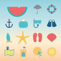 summer flat style icon set vector