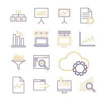 Data analysis line style icon set vector