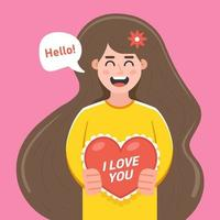 girl gives a card for Valentine's Day. flat character vector illustration