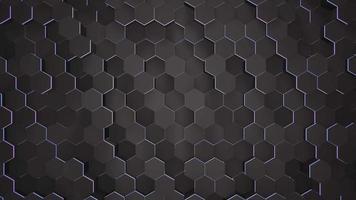 fundo de grade hexagonal preto e azul escuro de movimento, fundo abstrato