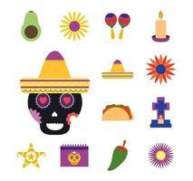 Mexican culture icon set vector
