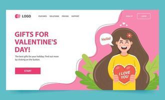 página web con un personaje de niña que le da una postal a su amada el 14 de febrero. ilustración de aterrizaje de vector plano