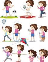 conjunto de niña haciendo diferentes tipos de deportes. vector