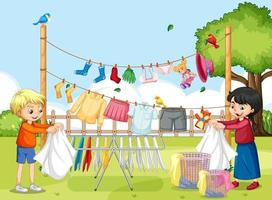 Outdoor scene with children hanging clothes on clotheslines vector