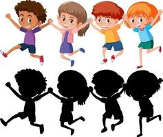 Set of different happy kids cartoon character with silhouette vector