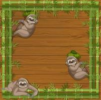 Empty banner with bamboo frame and sloth cartoon character vector