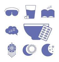 línea de insomnio y conjunto de iconos de estilo de relleno vector