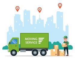 entrega de mercadería por camión. logística en la ciudad del transporte postal. ilustración vectorial plana. vector