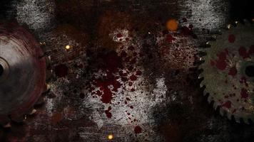 mystisk skräckbakgrund med elsåg och mörkt blod, abstrakt bakgrund video
