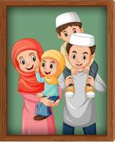 Happy family picture on photo frame vector