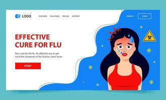 Landing page for flu. the girl is sick with the virus. Flat vector web character illustration.
