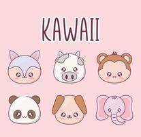 Kawaii animal cartoon icon set vector