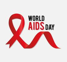 world aids day lettering with a red ribbon