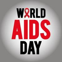 world aids day lettering with a ribbon