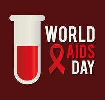 Letras del día mundial del sida con una cinta y un tubo de ensayo. vector