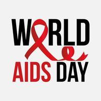 letras del día mundial del sida y una cinta con un nudo vector