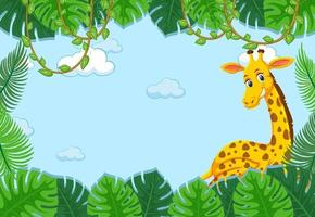 Giraffe cartoon character with tropical leaves frame vector