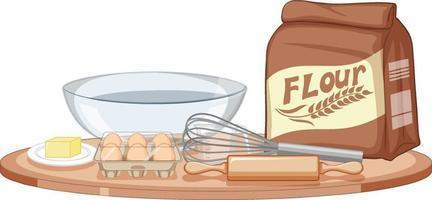Herramientas de panadería con ingrediente de panadería sobre fondo blanco. vector