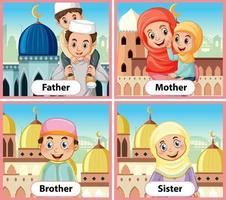 tarjeta educativa de palabras en inglés de miembros de la familia musulmana vector