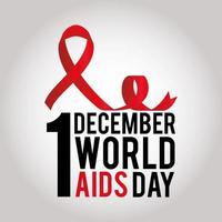 1 de diciembre letras del día mundial del sida y cinta con un nudo vector