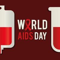 letras del día mundial del sida con un tubo de ensayo y una bolsa de sangre vector