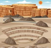 Landscape with mining quarry scene vector