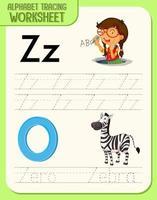 hoja de trabajo de rastreo alfabético con las letras zy z
