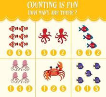 contando la imagen y encierre en un círculo la hoja de trabajo de matemáticas numérica para niños vector