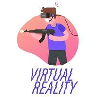 boy playing virtual reality glasses in a shooter. Flat character vector illustration.