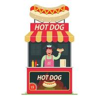 a hot dog stall with a cheerful seller inside. street fast food. Flat character vector illustration on a white background.