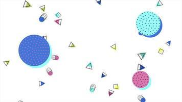 movimento formas geométricas abstratas círculos e triângulos, fundo branco de memphis