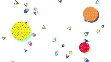 beweging abstracte geometrische vormen cirkels en driehoeken, witte memphis achtergrond video
