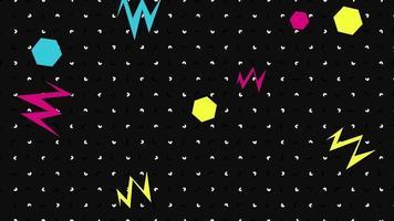 Bewegung abstrakte geometrische Formen Zickzack und Punkte, schwarzer Memphis Hintergrund video