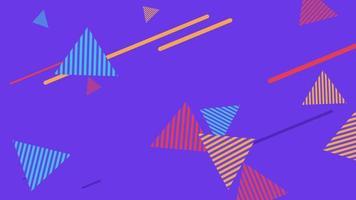 beweging abstracte geometrische vormen driehoeken en lijnen, kleurrijke memphis achtergrond video