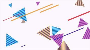 Bewegung abstrakte geometrische Formen Dreiecke und Linien, bunter Memphis Hintergrund video