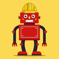 robot builder in a yellow helmet. innovative technology. Flat character vector illustration.