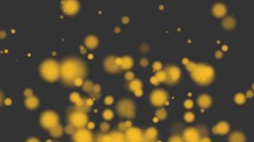 Animation fliegen abstraktes goldgelbes Bokeh und Partikel auf glänzendem Hintergrund