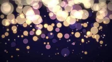 animação voando e partículas abstratas de movimento e bokeh redondo em fundo escuro video