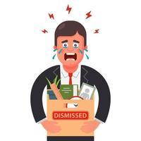 el hombre fue despedido del trabajo. empacó todas sus cosas en una caja y llora. Ilustración de vector de personaje plano.